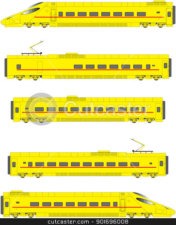 Tilting Train stock vector clipart, Yellow High Speed Electric Tilting Train Power Units and Carriages by d40xboy