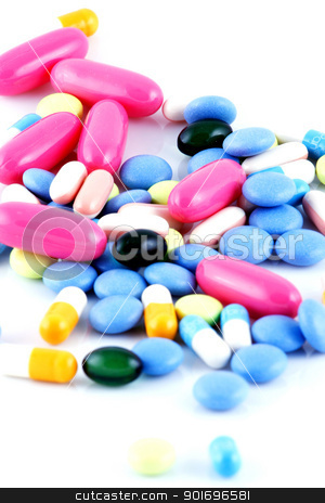 Pills of many shapes grouped together stock photo, Pills of many shapes grouped together. by Nenov Brothers Images