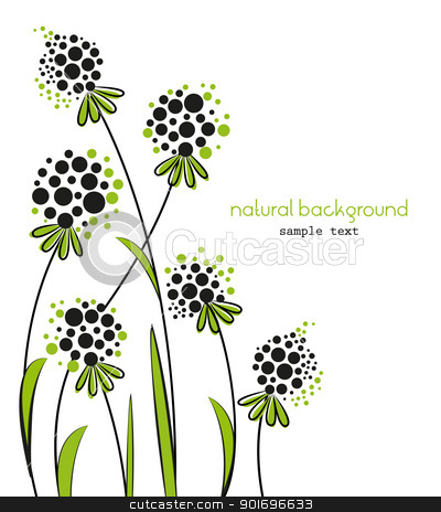 natural stock vector clipart, Floral abstract vector background on a white background by Miroslava Hlavacova