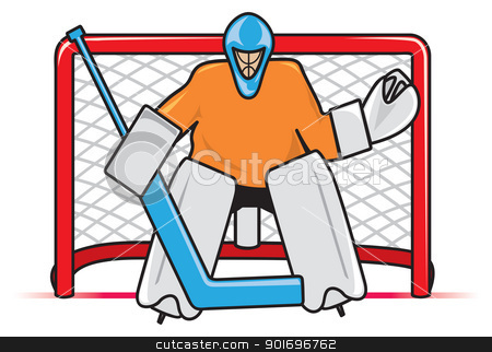 Hockey Goalie stock vector clipart, A stylized depiction of a hockey goaltender between the pipes ready to block a shot. by Jamie Slavy