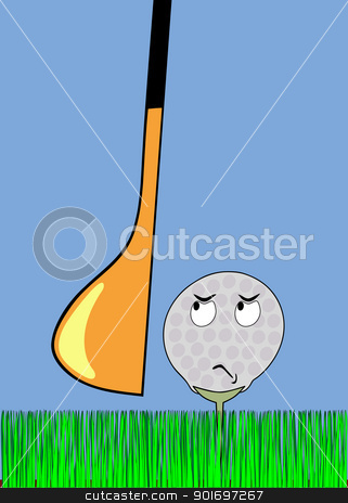 angry golfball awaiting stroke stock vector clipart, Cartoon illustration - frightened golf ball awaiting stroke by Siloto