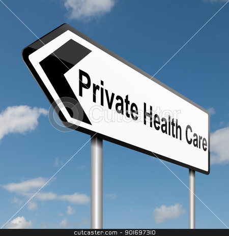 Private Healthcare concept. stock photo, Illustration depicting a road traffic sign with a Private Healthcare concept. Blue sky background. by Samantha Craddock