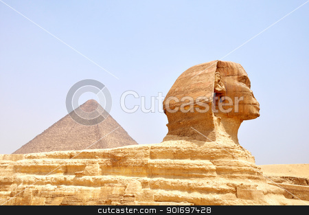 Sphinx and pyramid in Cairo,Egypt stock photo, Famous site of Sphinx in Cairo,Egypt by John Young