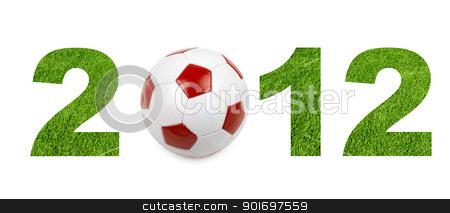 football 2012 championship stock photo, football 2012 championship from green grass texture by olinchuk