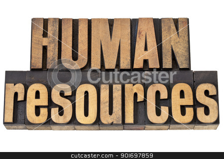 human resources in wood type stock photo, human resources - isolated phrase in vintage letterpress wood type by Marek Uliasz