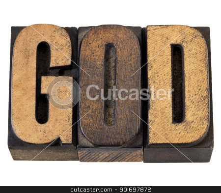 God - word in wood type stock photo, God - isolated word in vintage letterpress wood type by Marek Uliasz