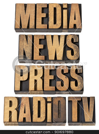 media, news, press, radio and tv stock photo, media, news, press, radio and tv - a collage of isolated words in vintage letterpress wood type by Marek Uliasz