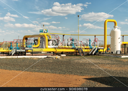 Process unit gaz. stock photo, Process unit for gas processing, the overall plan. by ekipaj