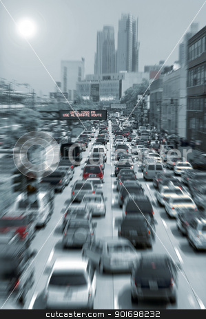 blurred traffic jam stock photo, blurred traffic jam colored picture, photo taken in new york by Robert Remen