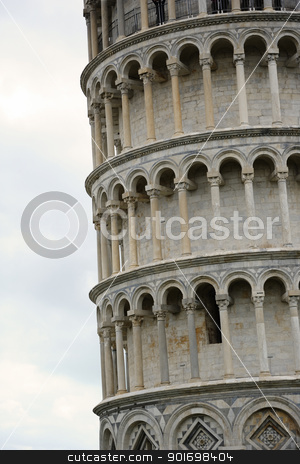 The leaning Tower in Pisa stock photo, Leaning tower of Pisa closeup look. Useful file for your brochure, flyer site about italian culture, european architecture and other needs. by ifeelstock
