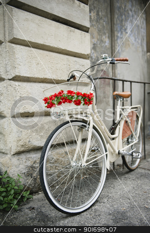 Flowered bike in Italy stock photo, White bicycle with redflowers parked against a wall in Pisa, Italy.  by ifeelstock