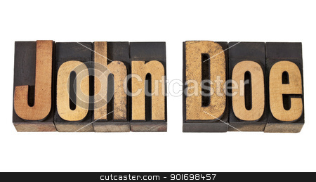 John Doe name  in wood type stock photo, John Doe - placeholder name or unidentified person - isolated text in vintage letterpress wood type by Marek Uliasz