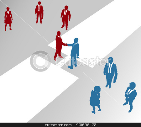 Business company teams join merger bridge 2 stock vector clipart, Two company teams join in a handshake connection over a gap by Michael Brown