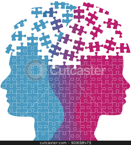 Man woman faces mind thought problem puzzle stock vector clipart, Heads of a woman and man symbol of couple love thought puzzle by Michael Brown