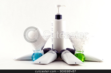 Spa Products stock photo, Various professional spa products arranged on a white background by Dennis Connelly