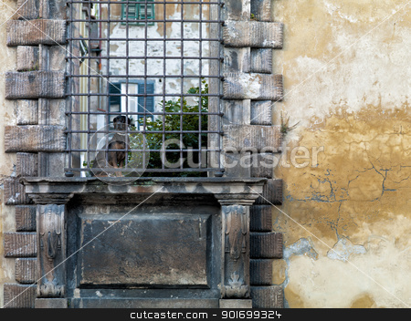 old wall with metallic bars stock photo, old wall with metallic bars by Dunning Adam Kyle