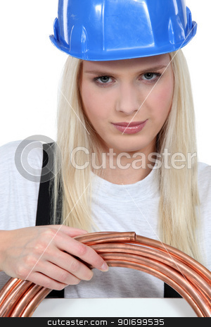 Female plumber stock photo, Female plumber by photography33