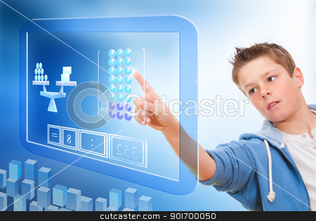 Education with virtual blackboard. stock photo, Young student touching virtual digital futuristic screen. by karel noppe