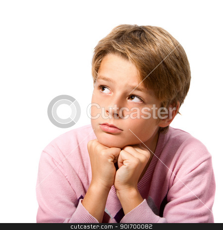 portrait of handsome boy resting face on hands stock photo, Portrait of handsome teen boy resting with face on hands with wondering expression. Isolated on white background by karel noppe