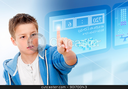 Young student with virtual futuristic interface. stock photo, Young student with virtual futuristic interface simulating digital blackboard. by karel noppe