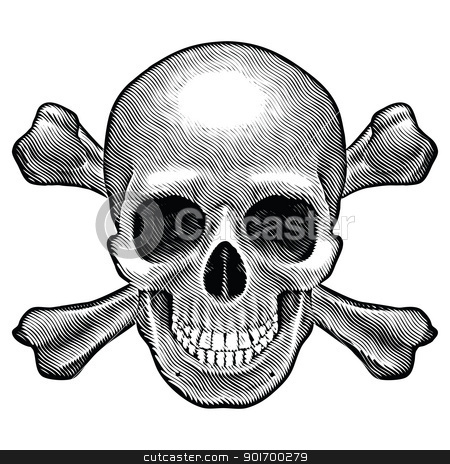 Skull and crossbones figure stock photo, Skull and crossbones figure. Illustration on white background.  by dvarg