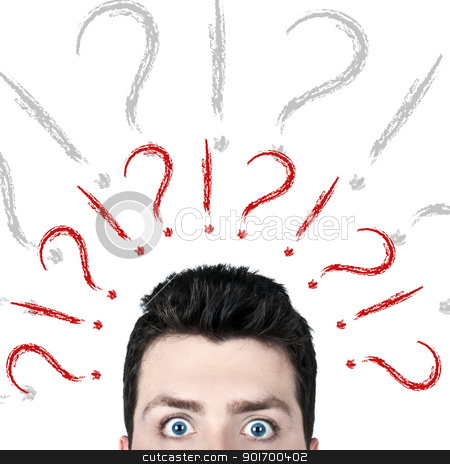 Questions stock photo, Young man surprised with wide open eyes and a lot of questions on his mind by HypnoCreative