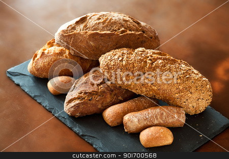 Assortment of Traditional Breads. stock photo, Assortment of traditional whole wheat, cereal and brown bread. by karel noppe