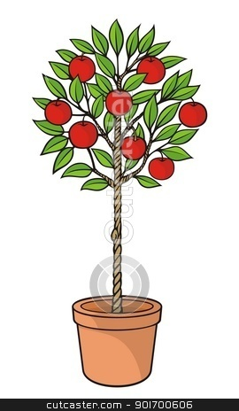 Apple tree stock vector clipart, Decorative apple tree with red apples in plant pot. by fractal.gr