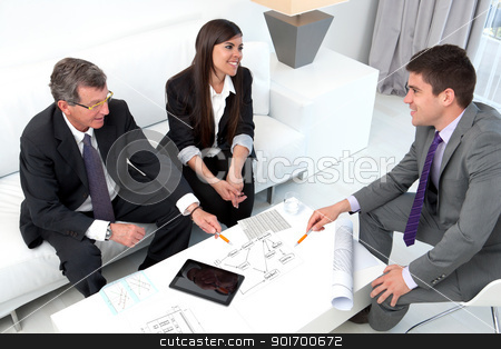 Business people sharing ideas. stock photo, Business people sharing ideas at meeting with documents and tablet on table. by karel noppe