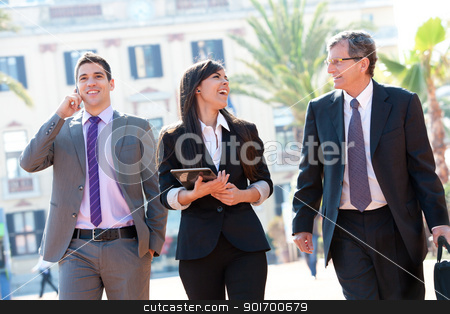 Business team meeting outdoors. stock photo, Dynamic Business team laughing at outdoor meeting. by karel noppe