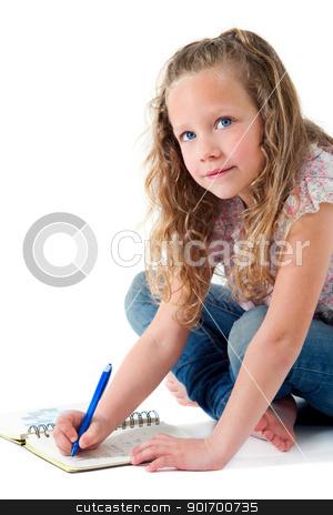 Cute girl doing homework isolated. stock photo, Portrait of cute blond girl doing homework. Isolated on white. by karel noppe