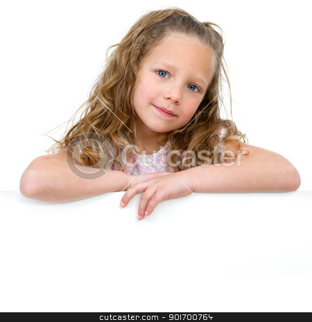 Portrait of girl with copy space. stock photo, Close up Portrait of little girl with white copy space. Isolated on white background. by karel noppe