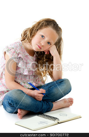 Young bored student with homework. stock photo, Portrait of bored looking little blond girl with homework. Isolated on white. by karel noppe