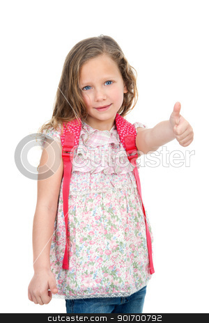Young student showing thumbs up. stock photo, Portrait of cute blond schoolgirl showing thumbs up. Isolated on white. by karel noppe