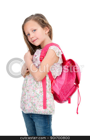 Young student with school bag. stock photo, Portrait of cute blond girl with school bag. Isolated on white. by karel noppe