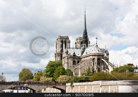 Notre-Dame de Paris stock photo, Notre-Dame de Paris on the Ile de la Cite - France. by tristanbm