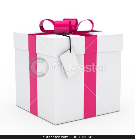 gift box pink ribbon stock photo, christmas white gift box pink ribbon signboard by d3images