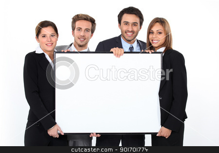 Business team holding blank poster stock photo, Business team holding blank poster by photography33