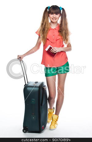 Girl with a suitcase stock photo, Photo of a young and beautiful girl with a suitcase, passport and ticket isolated on white background by Artamonov Yury
