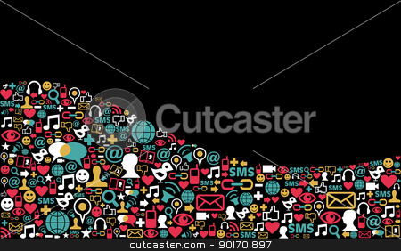 Social media network icon background stock vector clipart, Landscape social media icons set in wave shape layout background. Vector file layered for easy manipulation and custom coloring. by Cienpies Design