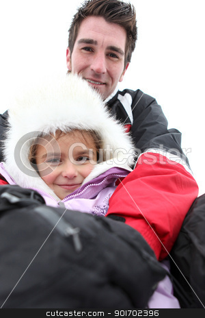 father and daughter on a ski vacation stock photo, father and daughter on a ski vacation by photography33