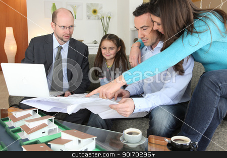 Family with realtor stock photo, Family with realtor by photography33