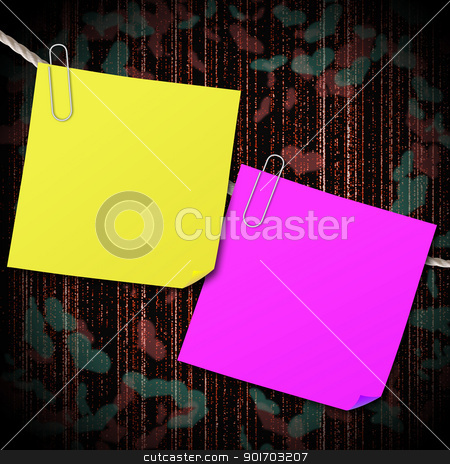Yellow and pink sticky note with clip hang on the rope with hear stock photo, Yellow and pink sticky note with clip hang on the rope with heart shape background by Sailom