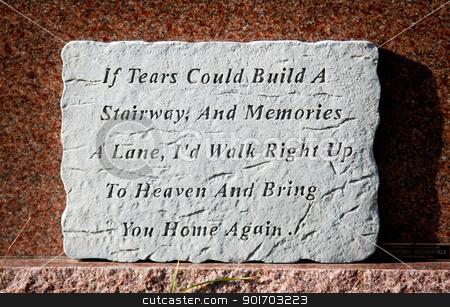 Tears tombstone stock photo, Tears poem memories in a graveyard by Angela Schmidt