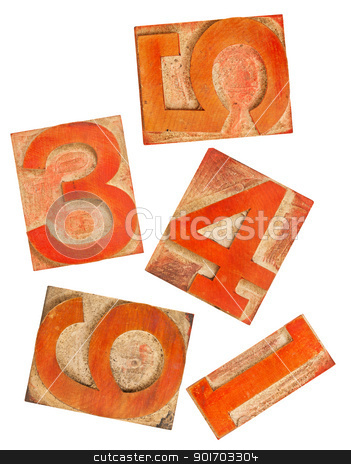 red orange numbers in wood type stock photo, selected numbers in isolated  wooden letterpress printing blocks stained by red and orange ink by Marek Uliasz