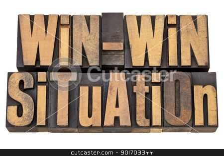 win-win situation in wood type stock photo, win-win situation - successful outcome of negotiation or conflict resolution concept - isolated words in vintage wood type by Marek Uliasz