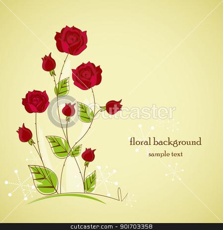 garden stock vector clipart, Rose garden with place for text by Miroslava Hlavacova