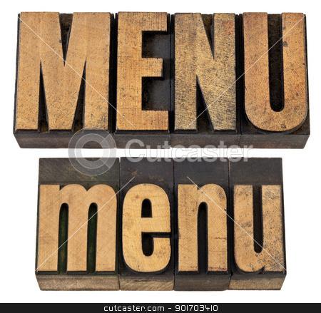 menu word in letterpress wood type stock photo, menu - isolated word in vintage  letterpress wood type, upper and lower case layout by Marek Uliasz