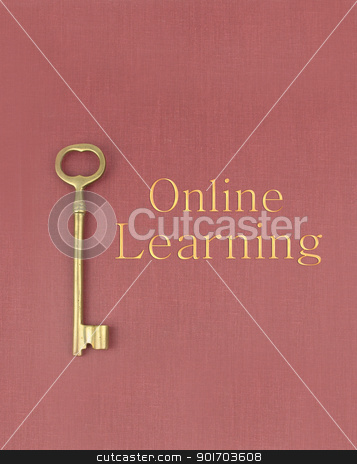 Key To Online Learning stock photo, A gold key to online learning on a red book. by Angela Schmidt
