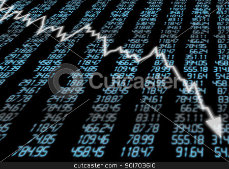 Stock Market Down stock photo, Stock Market - Arrow Graph Going Down on Blue Display by JAMDesign